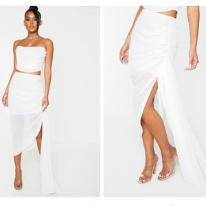 White Ruched Side Panel Midi Skirt